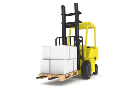 Forklift with Pallet, Front view. Part of a Blue and yellow Warehouse serie Stock Photo - 9713377