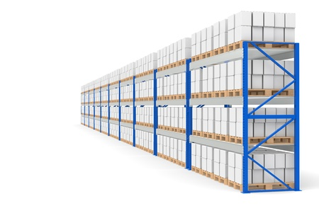 Warehouse Shelves, side view. Part of a Blue Warehouse and logistics series. Stock Photo - 9713404