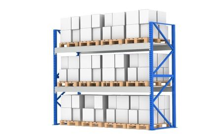 estanter�as: Estanter�as de almac�n. Pallet Rack, completo. Aislado en blanco. Parte de una serie de almac�n azul y log�stica. Foto de archivo