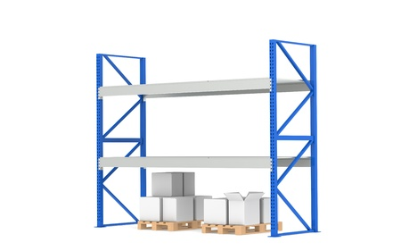 Warehouse Shelves. Low Stock Level. Part of a Blue Warehouse and logistics series. photo