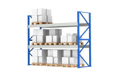 just in time: Warehouse Shelves. Medium Stock Level. Part of a Blue Warehouse and logistics series.