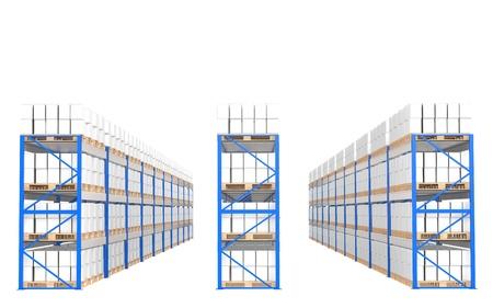 Etagères Entrepôt, vue de face. Partie d'un entrepôt de bleu et de séries de la logistique.