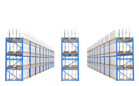 business roles: Warehouse Shelves, Front view. Part of a Blue Warehouse and logistics series. Stock Photo