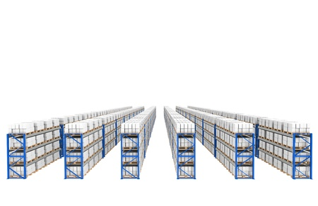 Shelves x 60. Top Perspective view. Part of a Blue Warehouse and logistics serie. Stock Photo - 9713400