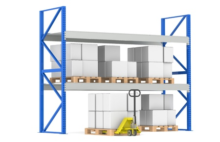 storage compartment: Warehouse Shelves, Pallets and a Hand Truck. Part of a Blue Warehouse and logistics series. Stock Photo