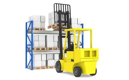 Forklift and shelves. Forklift loading Pallet Rack. Part of a Blue Warehouse and logistics serie. photo