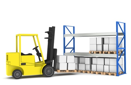Forklift and shelves. Forklift loading Pallet Rack.Part of a Blue and yellow Warehouse and logistics series. photo