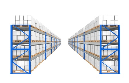 business roles: Warehouse Shelves 2 rows. Part of a Blue Warehouse and logistics series.