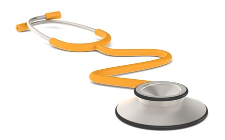 Perspective view of a Stethoscope. Orange Stock Photo - 9708248