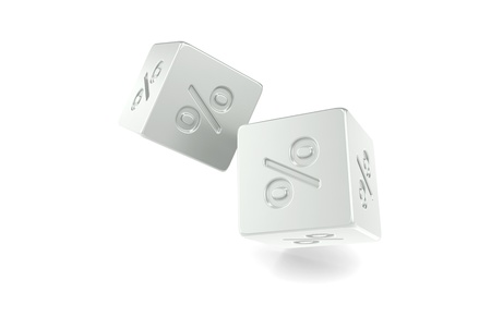 odds: Dices with percentage sign. Metal isolated on white. Stock Photo