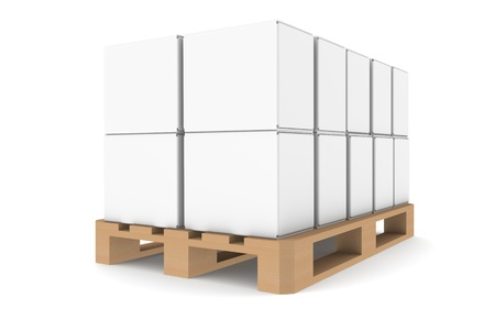 Pallet with blank boxes for copyspace. Part of warehouse and logistics series. photo