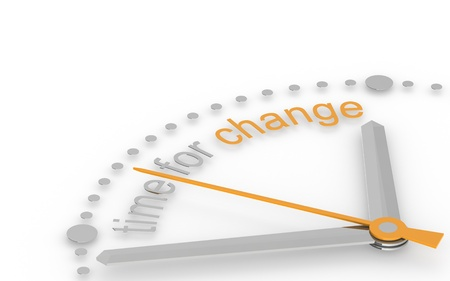 change concept: Tiempo para el cambio. Edici�n de naranja y acero Foto de archivo