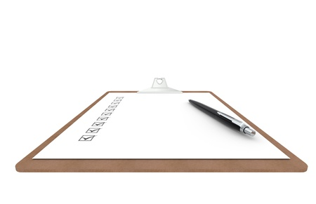 Clipboard with Checklist and Pen. Perspective view. photo