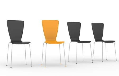 Chairs in a row, 3 Black and one Orange photo