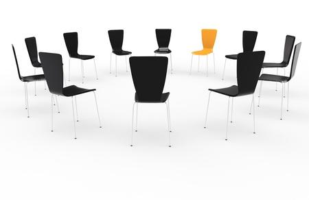terapia de grupo: Sillas en un c�rculo. Vista frontal. Negro y naranja
