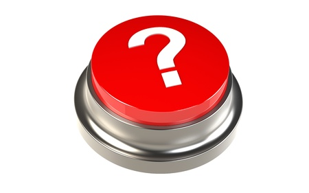 tilting: Red Button with a Question Mark Stock Photo