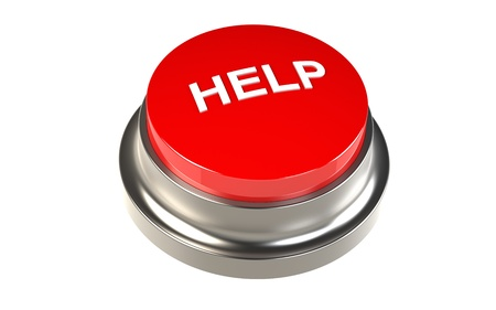 Button for Help. Red Button   Stock Photo