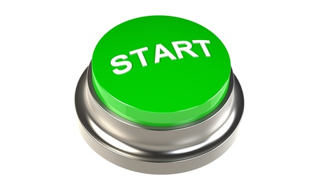 push button: Button for Start. Green Start Button Stock Photo