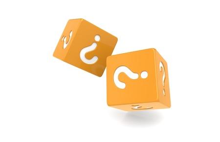 Dice with Question Mark. Orange Stock Photo - 9726833