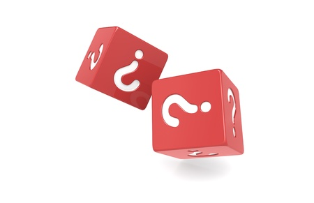 Dice with Question Mark. Red Stock Photo - 9726835