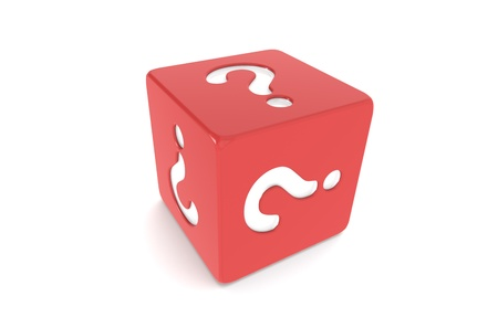 Dice with Question Mark. Red photo