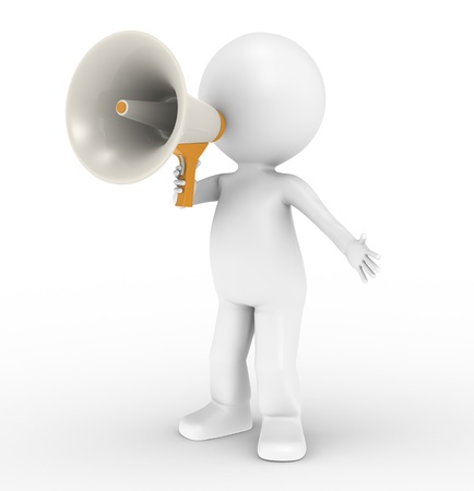 3d human character with a white megaphone photo