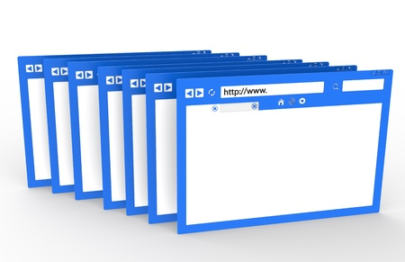 Row of Browsers. Blue with ground reflection Stock Photo - 9834082