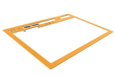 Orange Browser window, isolated on white photo