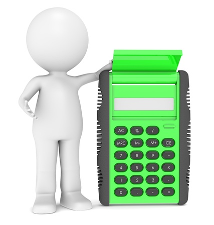 3d human character with a Green Calculator Stock Photo - 9834081