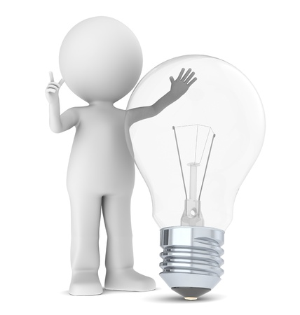 3d Small Human with a Light Bulb Stock Photo - 9834079