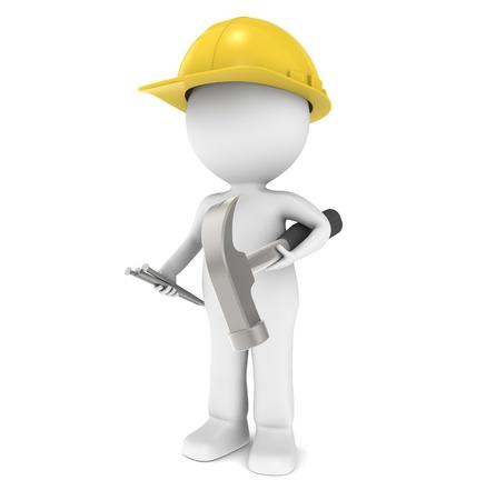 operarios trabajando: Personaje listo para construcción. La celebración de un martillo y clavos.