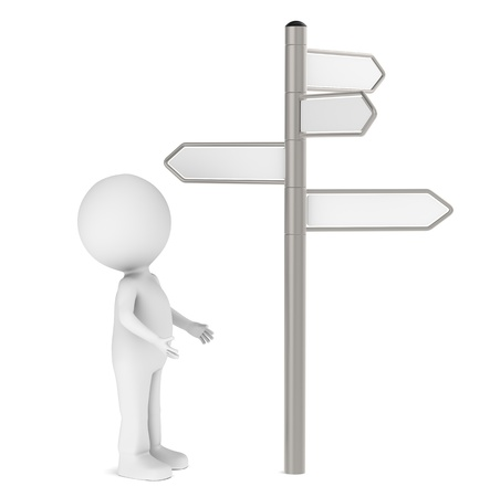 crossroad guide: 3D human standing infront of a Signpost. Blank for Copy Space.
