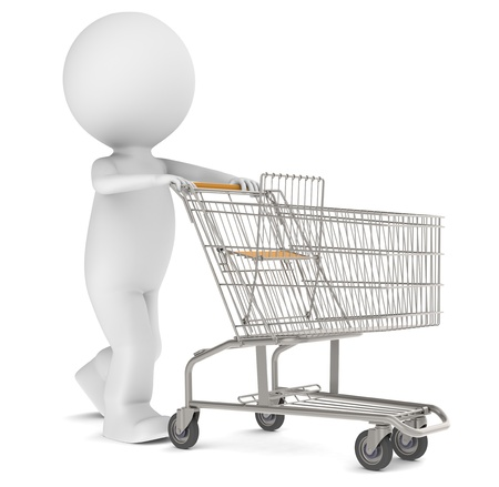 e store: 3d human character with an empty Shopping Trolley. Isolated