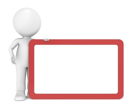 carácter humano 3D con una tarjeta en blanco para espacio de copia. Marco rojo