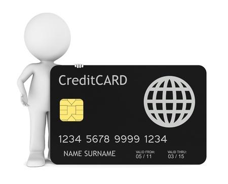 tarjeta visa: 3D humanos poco sosteniendo una aislados de tarjeta de cr�dito.