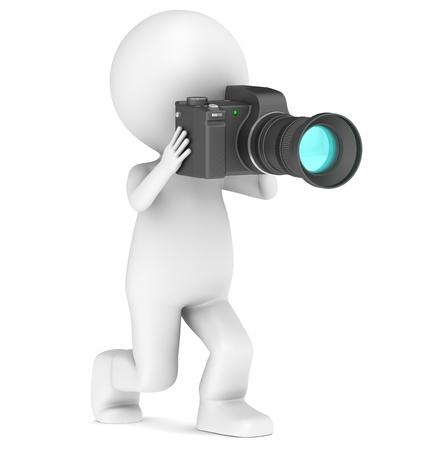 Zeichen: 3d kleine menschliche Figur mit einer Kamera.