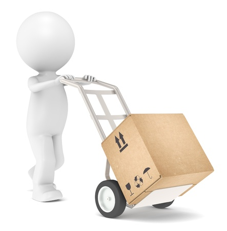 moving company: 3D Little Human Character transporting a Box.