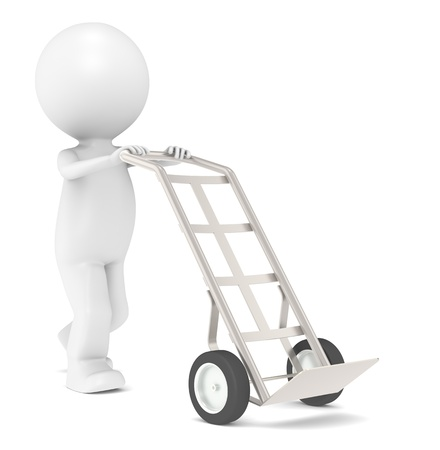 Hand Truck. 3D Little Human Character with a Hand Truck. Dolly Truck. photo