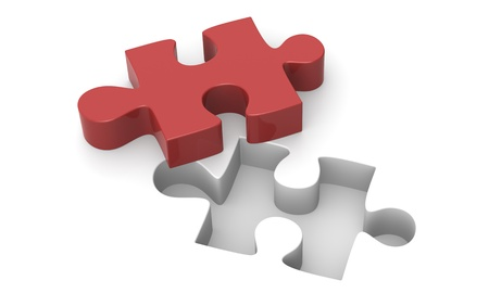 managed: A Red Jigsaw puzzle piece.