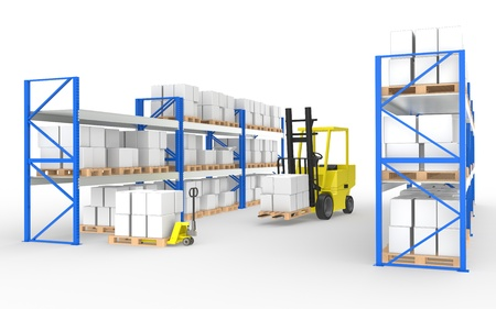 Forklift truck, hand truck and shelves.Part of a Blue and yellow Warehouse and logistics series photo