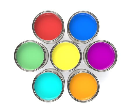 Colorful Paint Buckets, Isolated. Paint Buckets in a Circle Formation photo