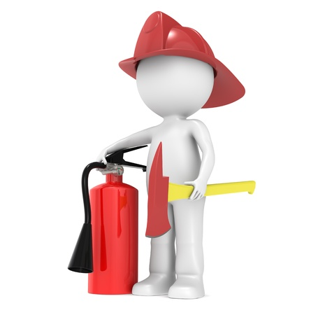 fire damage: Character ready for a fFire. Holding an axe and and a fire-extinguisher