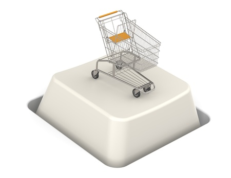 checkout line: Button with Shopping Cart. Steel Trolley. Stock Photo