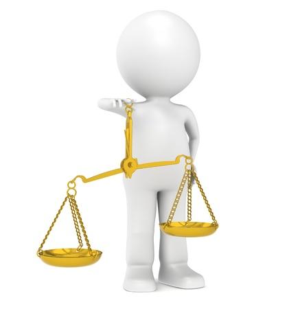 trial balance: 3D peque�o personaje humano con escamas de lat�n Foto de archivo