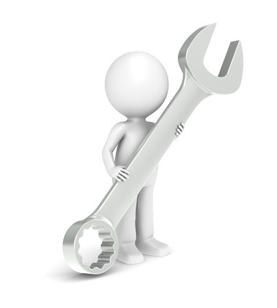 3d little human character with a big wrench Stock Photo - 9976750