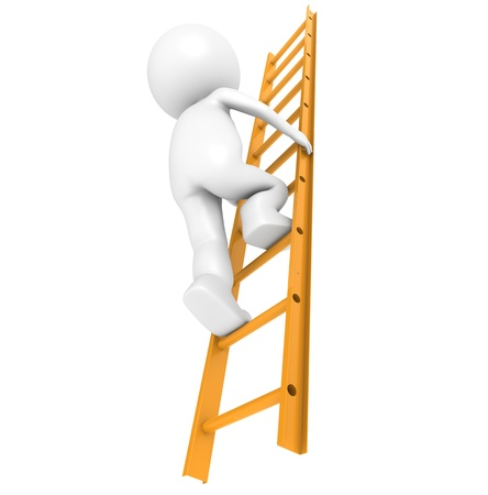 3D Little Human Character Climbing on an Orange Ladder photo