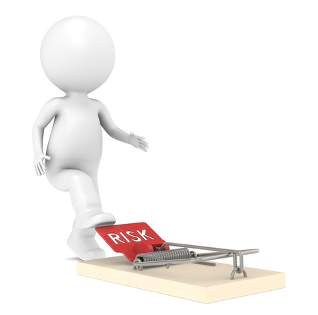 the risk: 3d little human character about to step on a Mouse Trap Stock Photo