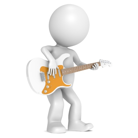 stratocaster: 3D Little Human Character playing on an Electric Guitar