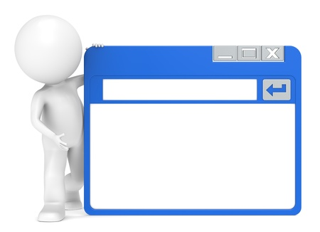 3D Little Human Character holding a Simplified Browser Window photo