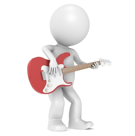 3D Little Human Character playing on an Electric Guitar photo